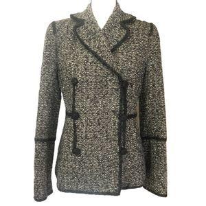 Max Studio Special Tweed Wool Silk Peacoat Jacket